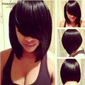 Synthetic hair bob wigs for black women fashion girls medium length long silk straight hair Wigs with side bangs cheap black wig