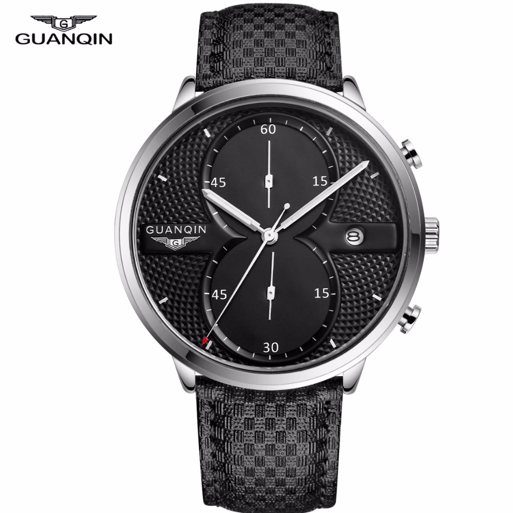 GUANQIN Watches Men Business Casual Chronograph Clock Brand Luxury Leather Strap Quartz Watch Mens Fashion Creative Wristwatch стоимость