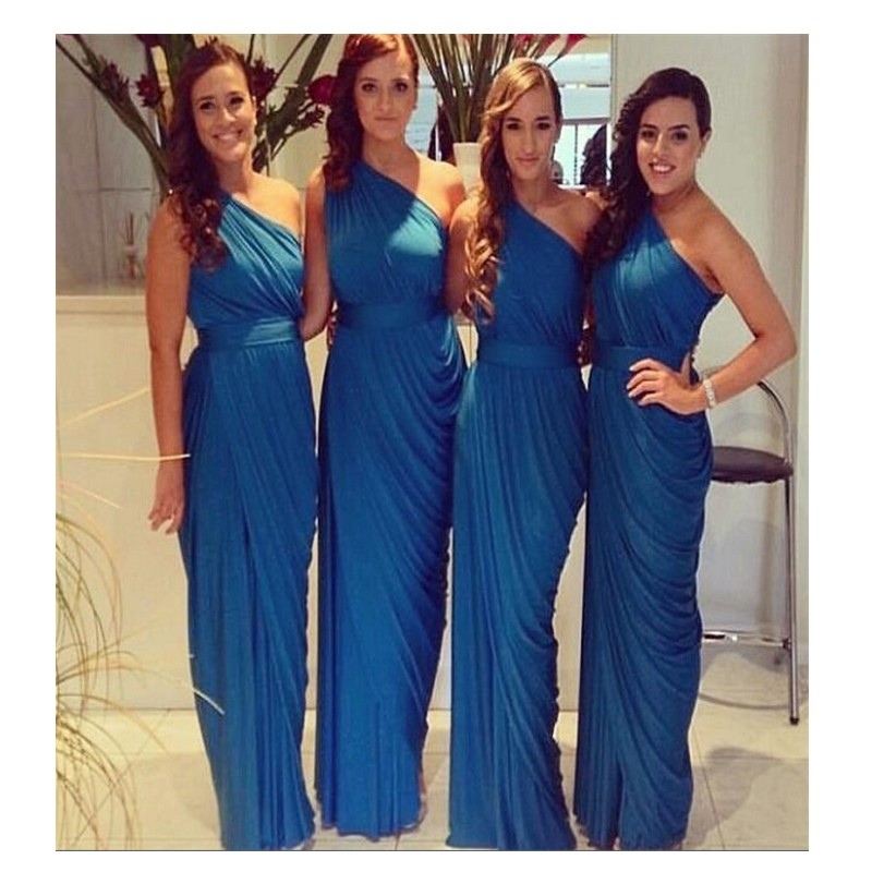 Tidetell Custom Made New Design Bridesmaid Dress One Shoulder Wedding Party Pleat Floor Length Royal Blue Chiffon Vestidos In Dresses From