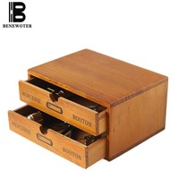 Vintage Wooden Desktop Drawer Organizer Storage Box Cosmetic Sundries Container Office Tabletop File Storage Box Home Decoration