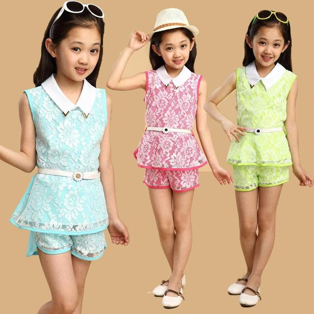 2017 Summer children's clothing girls lace Korean female children's clothing children suit children from 3 colors