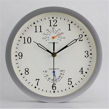 Chinese Silent Wall Clock Watch Mechanical Vintage Home Decor Bathroom Horloge Murale Metal Art Clock Thermometer Watch LLN1585