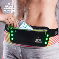 AONIJIE Running Waist Bag Flashing LED Lights Sport Bags Water Resistant Waist Pack Ultralight Running Belt Bag for Hiking