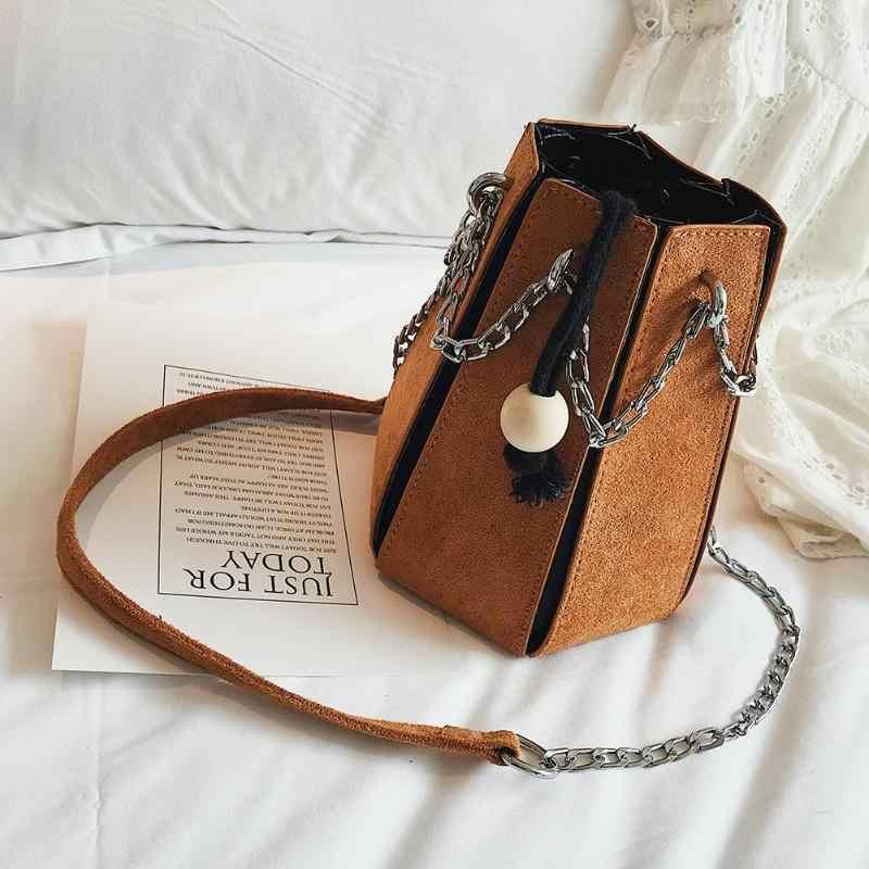 56fde0427998 Creative Geometry Bucket Shoulder Bags Brand Design Women Girls Handbag  Chain PU Leather Messenger Bag Small Mini Shopping Bag