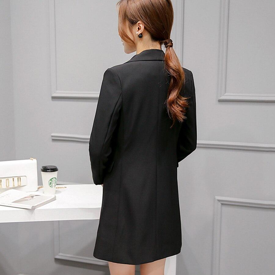 Long Black Suit Jacket Women Slim Fit Casual Blazer Female Cape Elegant  Vintage Ladies Formal Blazers Korean Woman Coat X50034-in Blazers from  Women s ... 9710842096f6
