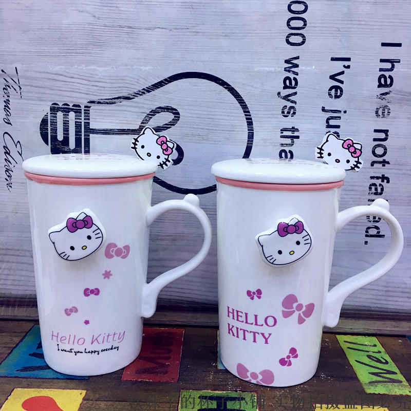 2018 Valentines Day Cartoon Kitty Coffee Mug Tea cup ceramic cup with Spoon Lid water bottle Breakfast Milk cups For Lover gift