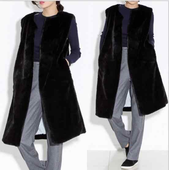 Норковая 2019 зимняя женская куртка из искусственного меха жилет из искусственного меха норковые жилетки женские куртки Длинная черная искусственная норка меховой жилет Q975