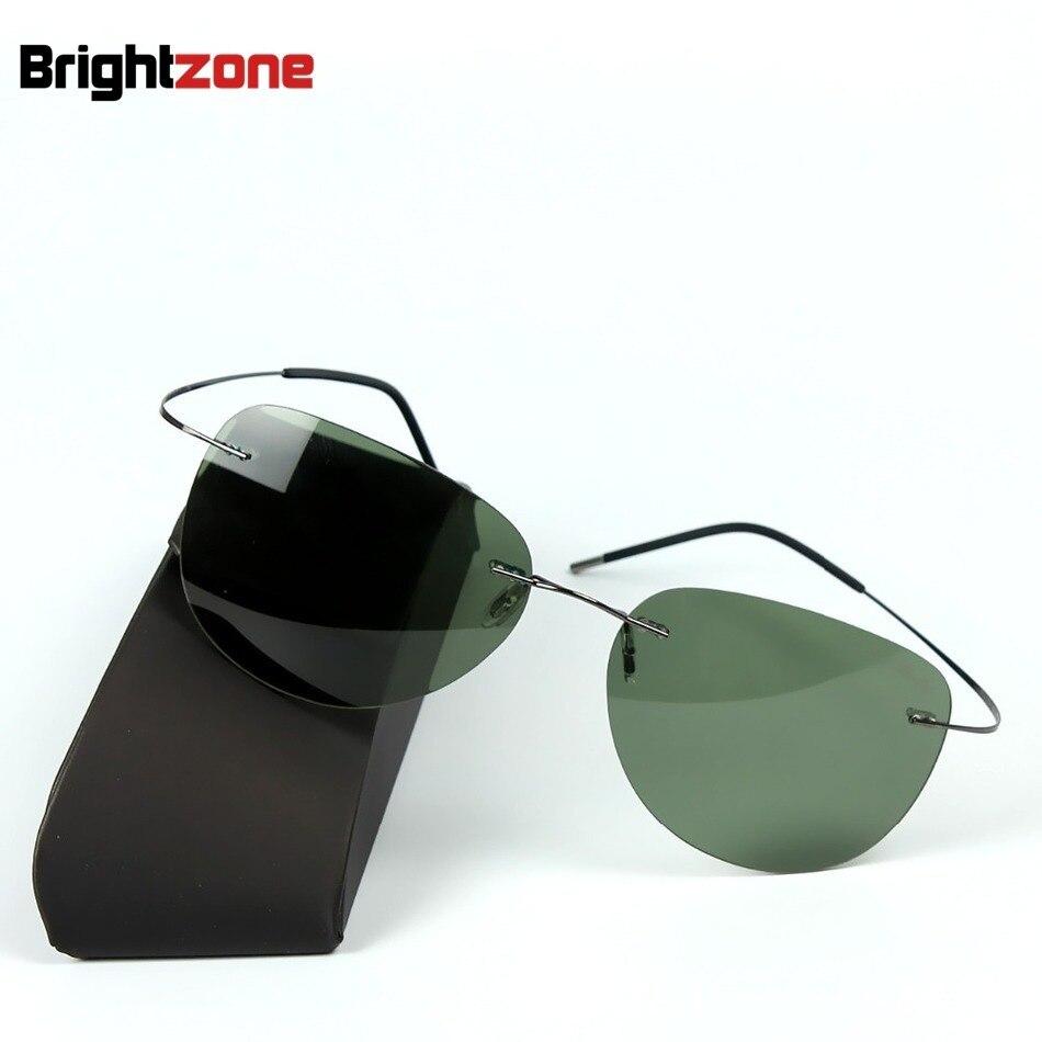 2016 Marco de titanio rimless Polarized Gafas de sol Super Light hombres conducción espejo Gafas de sol mujeres hombres Sol Gafas verano estilo