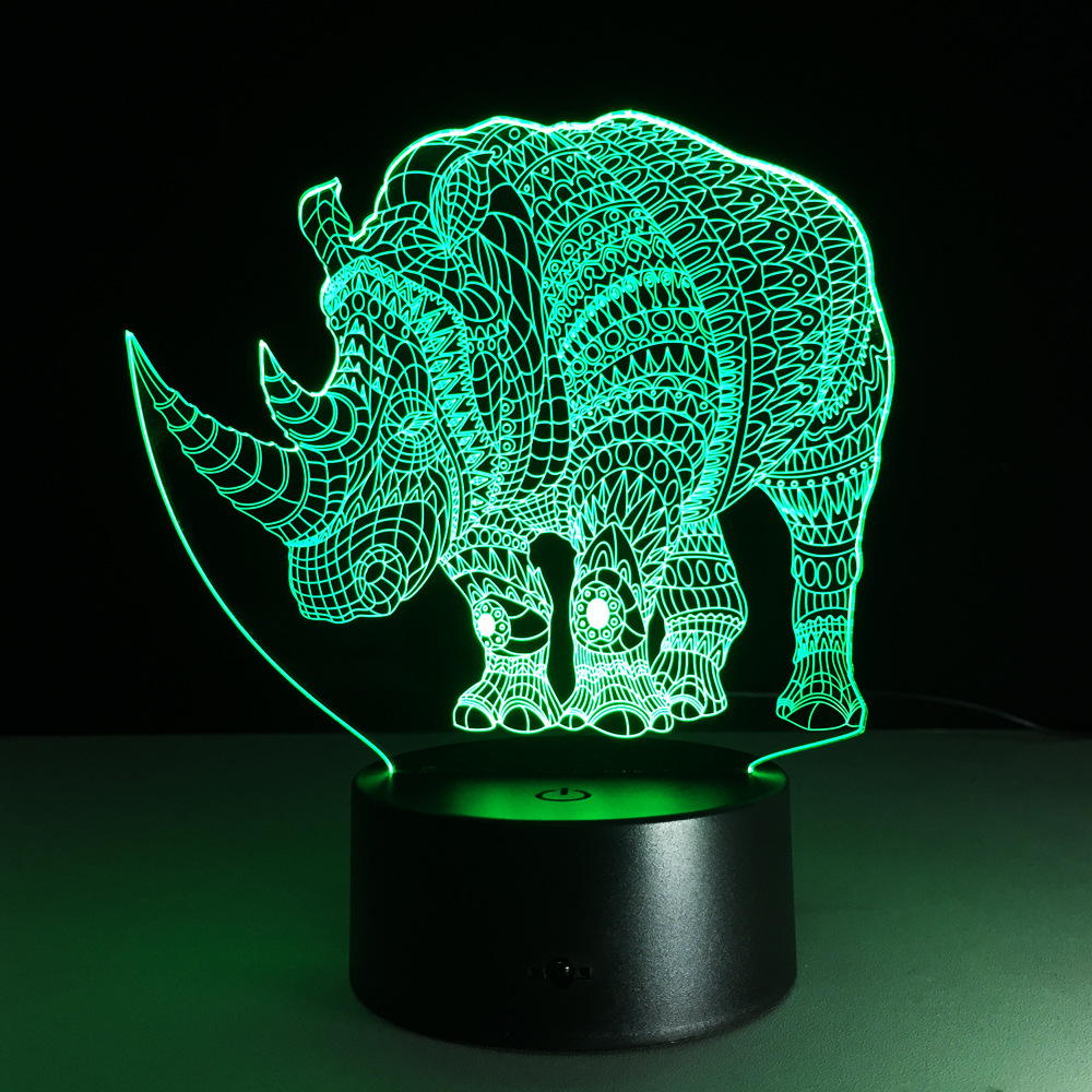 Cute Animal Rhinoceros Lamp Colorful Acrylic Table Lamp For Party Baby 3D Hologram Luminaria Nightlight Free