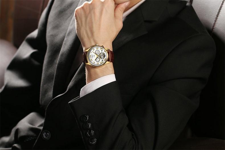 Kinyued Skeleton Watch Mężczyźni Automatyczna Wodoodporna Top Marka Męskie Zegarki Mechaniczne Skóry Kalendarza Złota Róża Relógio Masculino 11