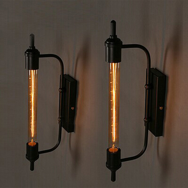 Retro Vintage steam pipe Style black slender Loft Industrial Hotel Cafe Bar Restaurant bedroom Iron Punk Wall Lamps Lighting цены