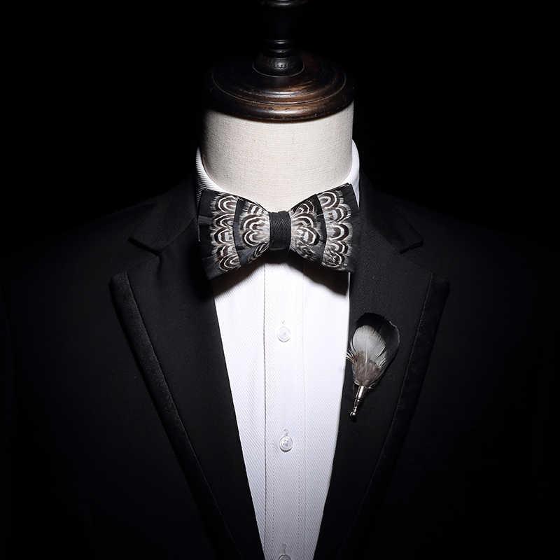 Jerman Desain Asli Dasi Kupu-kupu Putih Alami Bulu Burung Dasi Kupu-kupu Buatan Tangan Kulit Busur Dasi Bros Kayu Kotak Pesta Pernikahan Hadiah