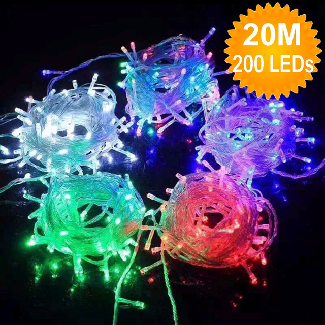 Hot Sale 20M 200 LED Christmas Light String Fairy Lights Garland Outdoor  For Xmas Birthday Party Wedding Decoration 110V/220V - Hot Sale 20M 200 LED Christmas Light String Fairy Lights Garland