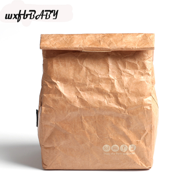 6l Brown Paper Lunch Bag Reusable Box Sack Durable Insulated Thermal Kraft Snack Cooler