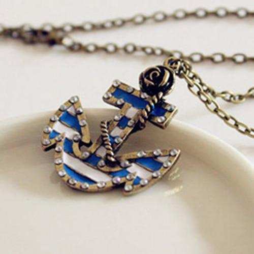 24 PCs 2016 hot Vintage Marine Sailor Era Retro Rose Anchor Created Pendant Long Necklace Sweater Chains