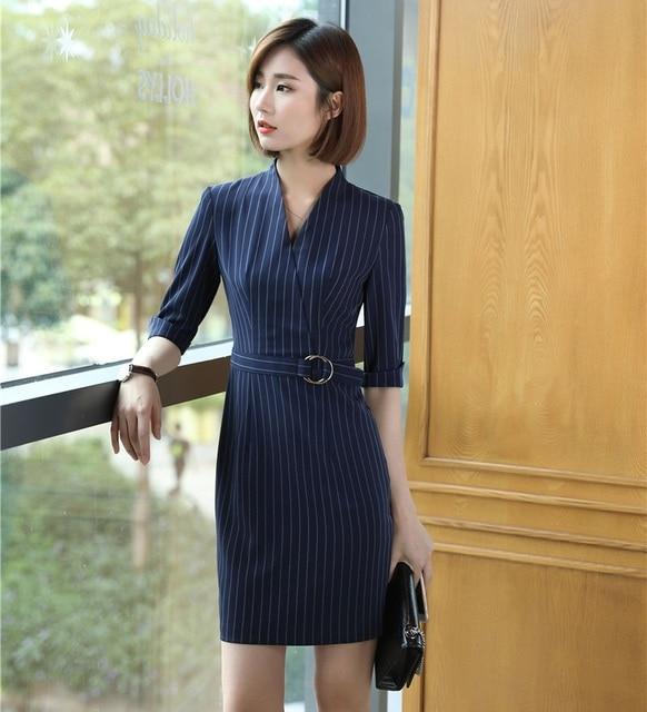 9df9cf1b4b New Style 2018 Women Dress Half Sleeve Ladies Work Wear Dress Female Office  Uniform Designs