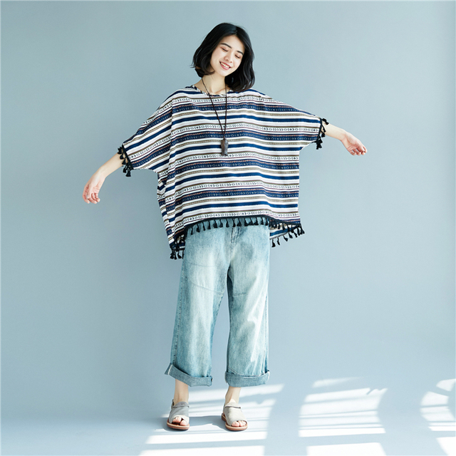 Batwing Sleeve Tassel Cotton & Linen Striped T-Shirts Summer Plus Size Casual Loose Tops Womens Lagenlook Baggy T-Shirt Tee