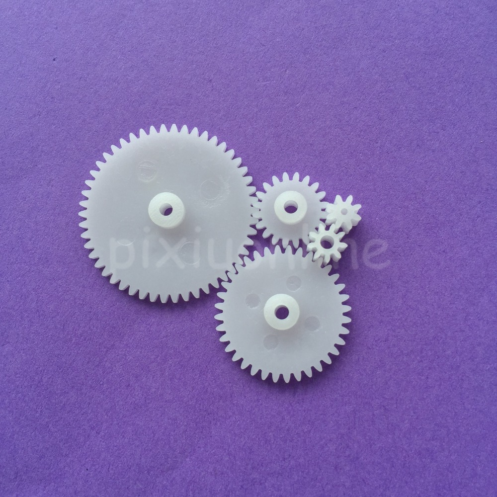 5pcs J360Y 5different Standard Gears 0.5 Module Model Assemble Gear Box Parts White Plastic Gears