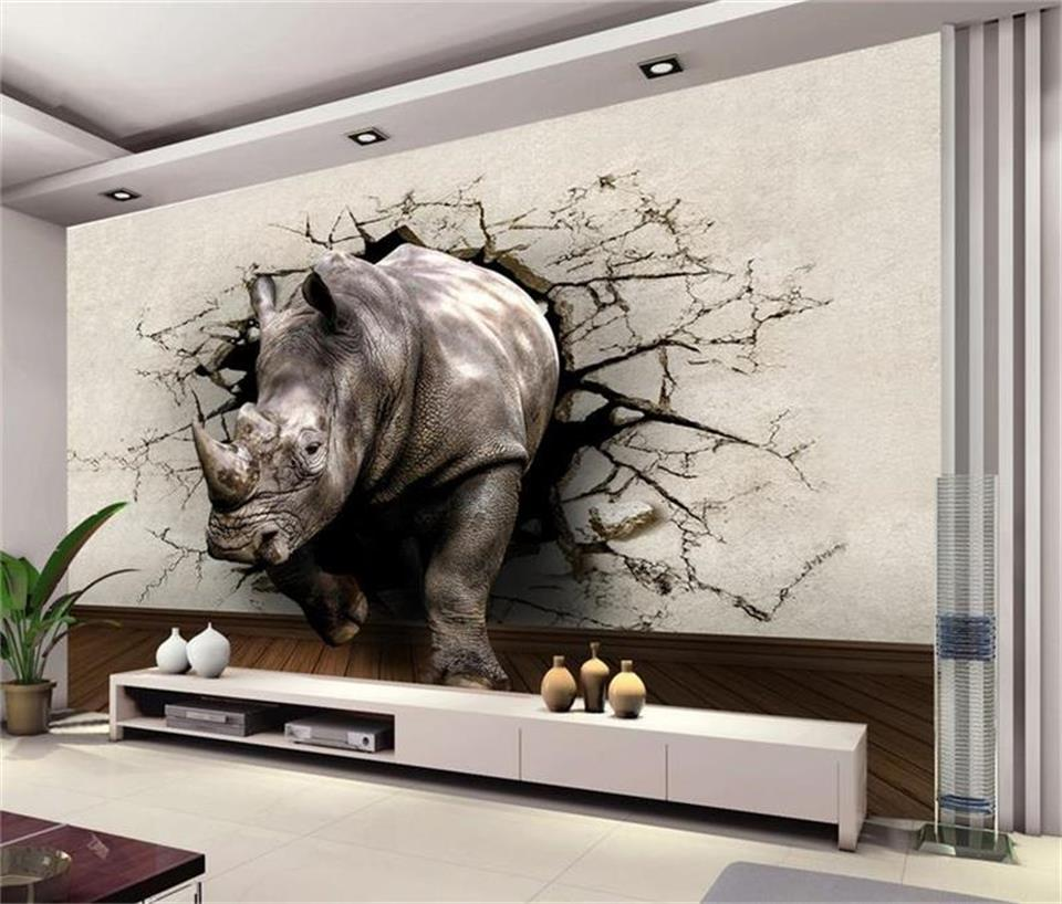 custom mural photo 3d wallpaper living room kids room rhino wall cave 3d painting TV background non-woven wallpaper for wall 3d 3d room wallpaer custom mural non woven photo natural scenery forest trees painting 3d wall murals wallpaper for walls 3d