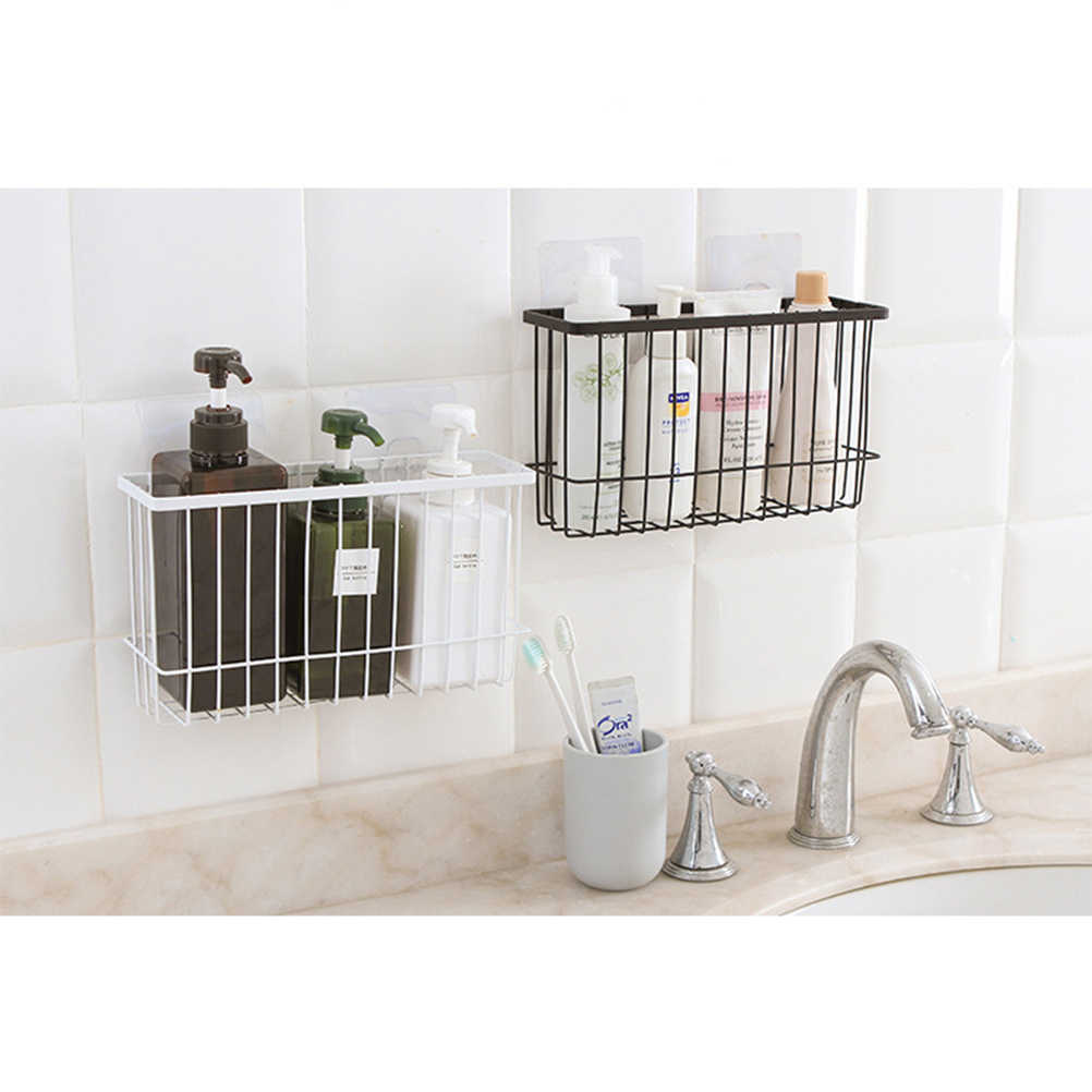 Bathroom Shower Caddy Bathroom Shower Caddy Wall Rack Self Adhesive Heavy Duty Bathroom Kitchen Iron Wall Basket Holder For Shampoo Soap Spice Jar