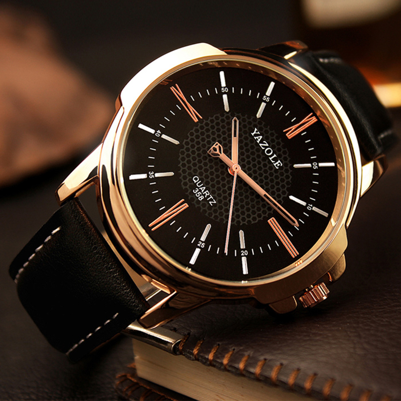 Luxury YAZOLE Mens Watches Top Brand Fashion Blue Glass Watch Men Watch Waterproof Leather Roman Men's Watch Male Clock relojes new listing yazole men watch luxury brand watches quartz clock fashion leather belts watch cheap sports wristwatch relogio male
