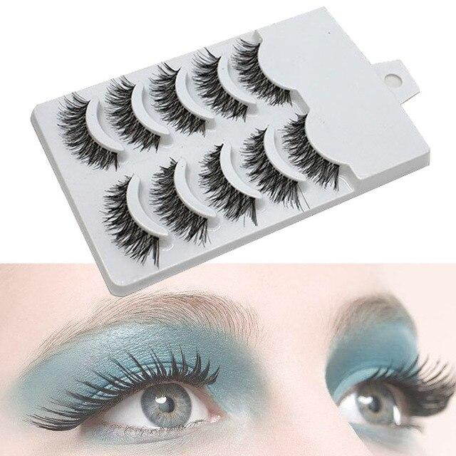 5 pares de pestañas postizas naturales pestañas postizas maquillaje largo pestañas de visón 3D extensión de pestañas de visón para la belleza