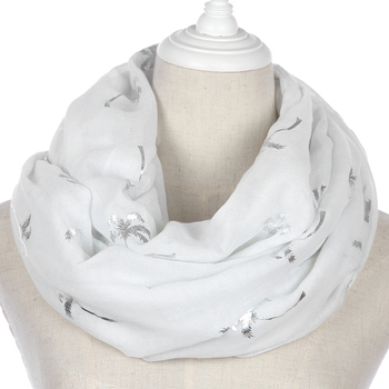 FOXMOTHER 2019 New Women Fashion White Grey Navy Foil Silver Coconut Tree Infinity Scarves loop Foulard Femme Scarfs For Ladies foxmother new vintage pink white cat foulard femme animal cat scarves for cat lover mother gifts scarfs dropshipping