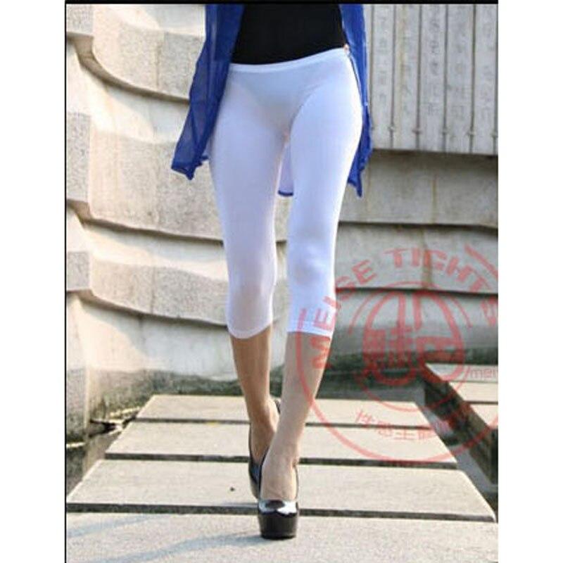 Elastic Low Waist Bodycon Peach Hip Milk Silk Fabric Capris Women Body Shaping Sexy Calf-length Pants Bottom Legging Pencil Pant