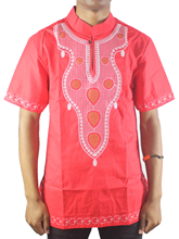 2019 Summer Red Colorful Dashiki African Standing Collar Embroidered Shirt