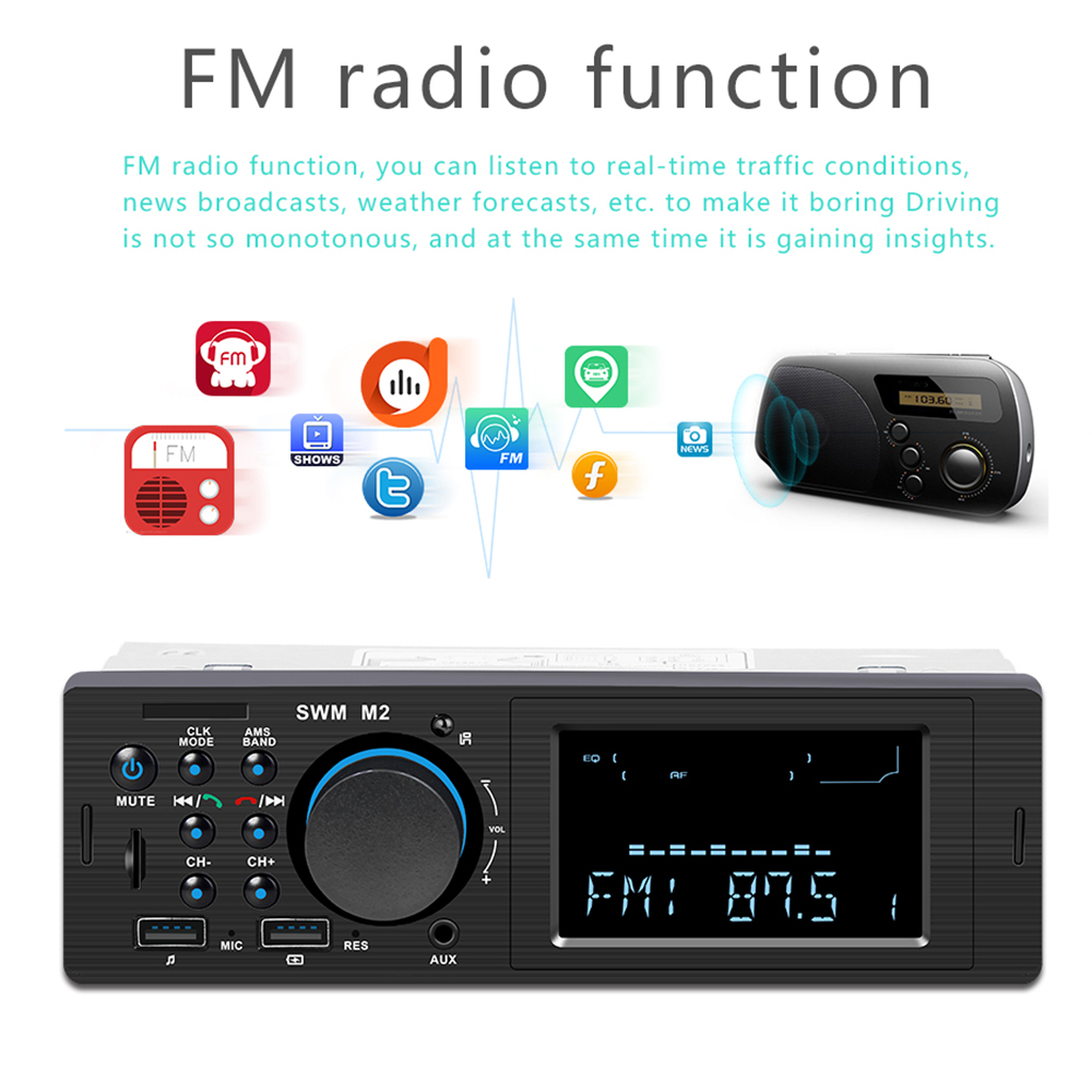Image 4 - SWM M2 Car Stereo MP3 Music Player FM Music Radio Bluetooth 4.0 TF AUX Dual USB Charging Car charger for iOS/ Android Head Unit-in Car MP3 Players from Automobiles & Motorcycles