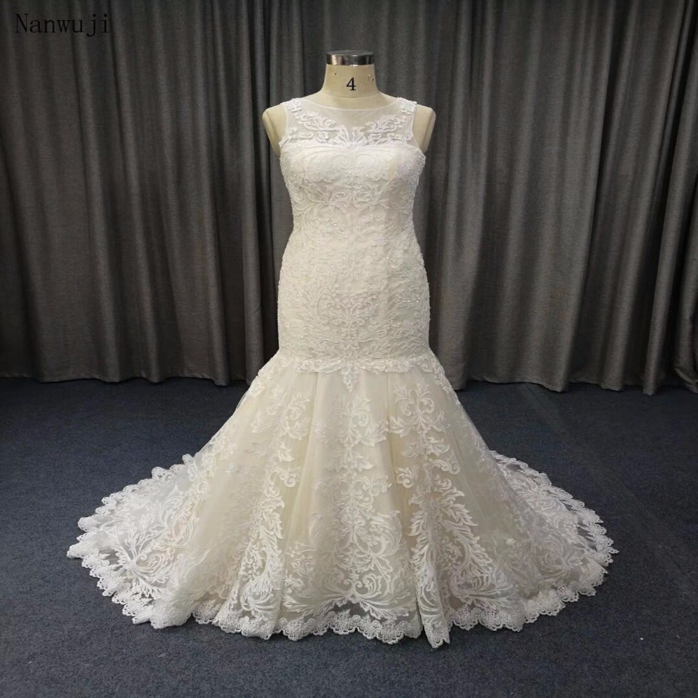 Eslieb lace Crystal Wedding Dress 2018 Custom made Mermaid Wedding Dresses 100% High Quality Bridal Dresses