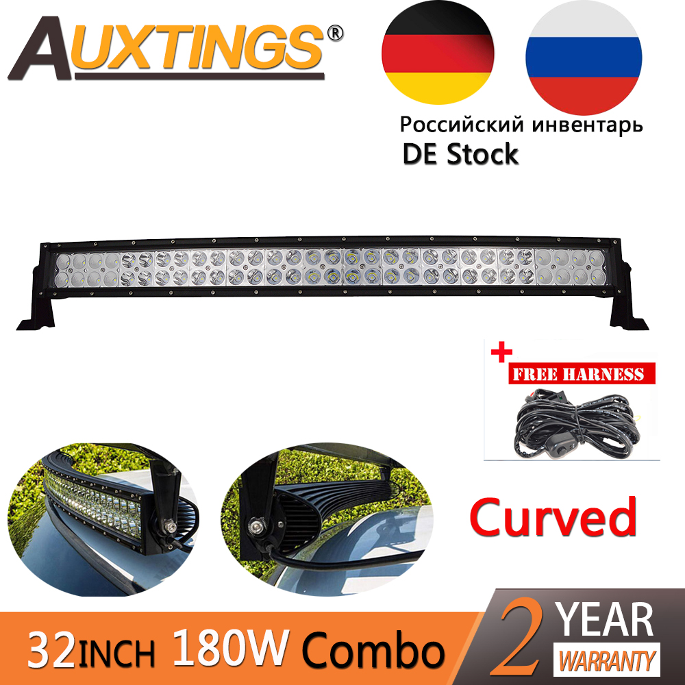 Auxtings 32''inch 180W Curved OffRoad Flood Spot Comb LED Work Light Bar for Tractor Boat 4WD 4x4 Car Truck SUV ATV RU DE Stock стоимость