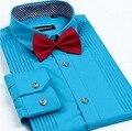 Sólido Corbata de Los Hombres Camisa de Vestir de Nuevo para No Hierro Lujo Slim Fit de Manga Larga Camisas de Marca de Moda de Negocios F0100