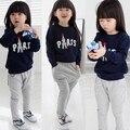 Crianças nova primavera 2014 outono esportes dos miúdos meninas pullovers camisola outerwear calças calças do bebê set roupas casuais