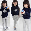 New 2014 spring autumn children kids sports girls baby pullovers sweatshirt outerwear trousers pants casual clothing set