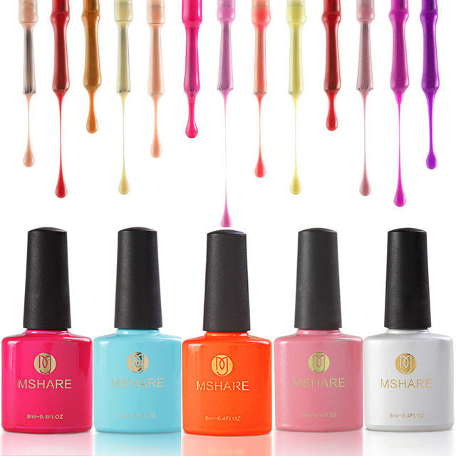 MSHARE 8ml Color Gel Nail Polish Long Lasting Soak Off UV Gel Nail Polish Cover Germany Health Resin Material 28 Colors