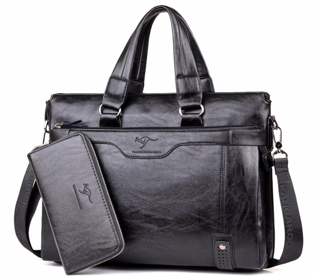 2017 Men Casual Briefcase Business Shoulder Leather Messenger Bags Computer <font><b>Laptop</b></font> Handbag Men