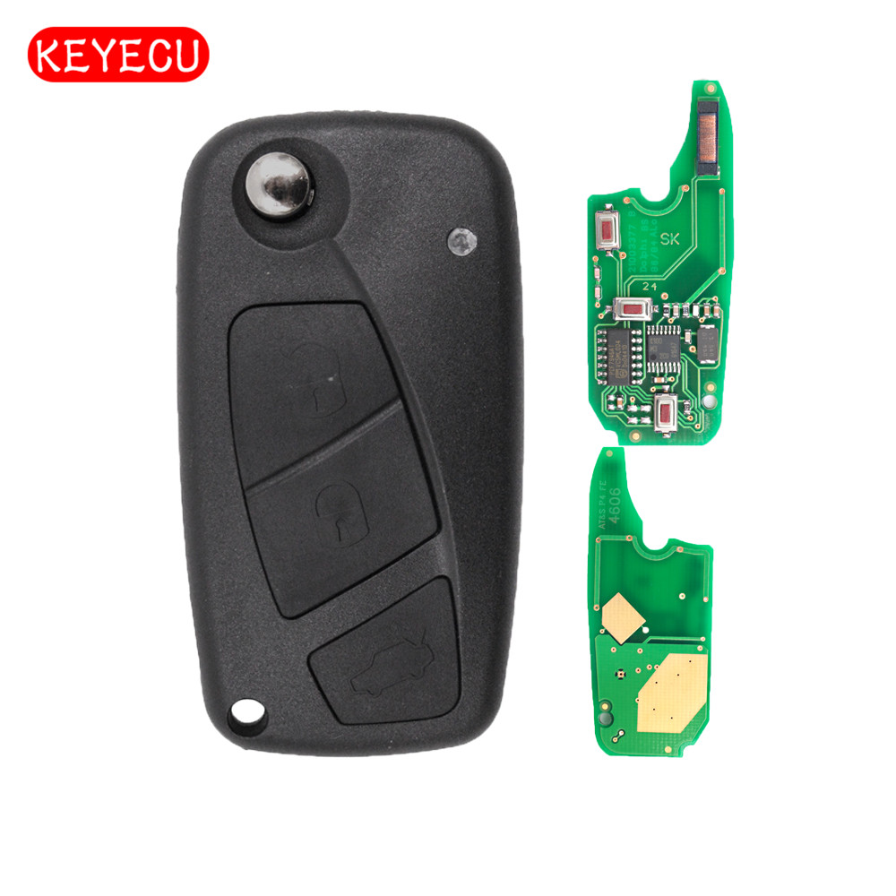 Keyecu Flip Remote Key 2 Button/3 Button 434MHz PCF7946 Chip for Fiat Punto Ducato Stilo Panda Central kutery 3 buttons flip folding remote key case shell cover fob for fiat punto panda stilo ducato bravo anahtar guscio chiave key