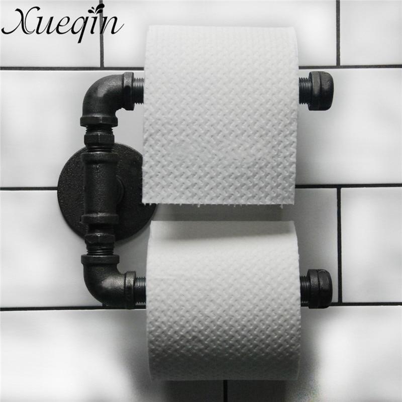 Xueqin Urban Industrial Style Bathroom Paper Holder Hanger Tissue Roll Towel Rack Wall Mount Double Toilet Roll Door Holder цена 2017