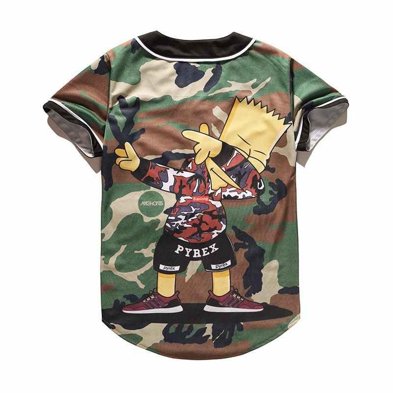 2017 camiseta Hipster de dibujos animados Unisex para hombres y mujeres de Hip Hop de manga corta con estampado 3D de béisbol camiseta de calle Tops de verano