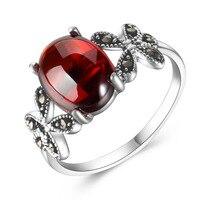 Lungo baolong autentico 925 bianco puro corindone rosso granato farfalla intime anello anello nuova femmina