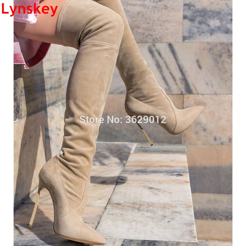 Lynskey Autumn Women Boots Stretch Slim Thigh High Boots Fashion Over the Knee Boots High Heels Shoes Woman lynskey fashion black blue red women thigh high boots high heel velvet over the knee boots stretch boots long shoes