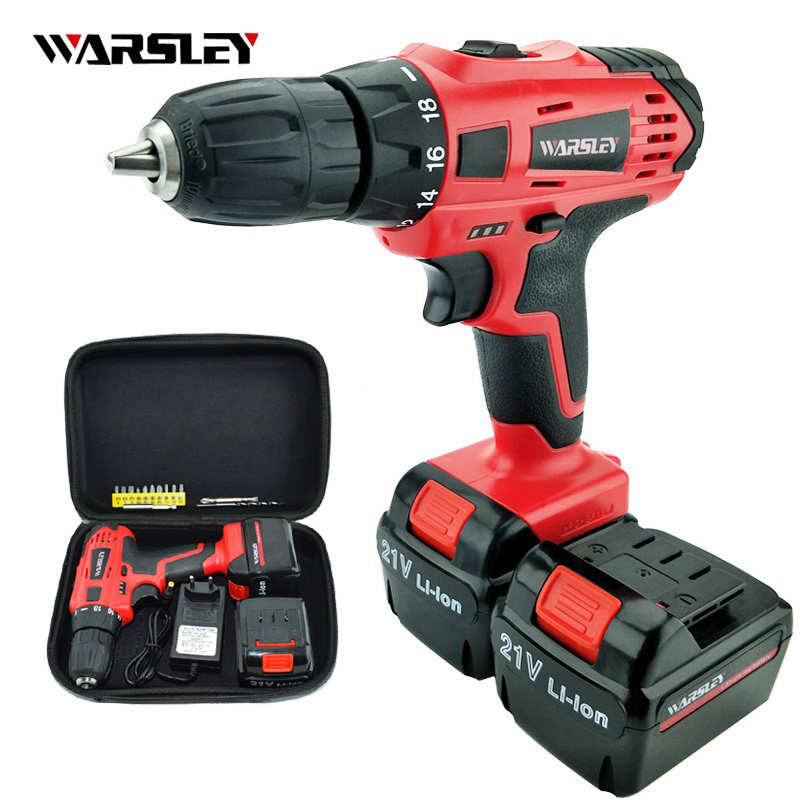 21V Cordless Electric Drill Electric Screwdriver Mini Wireless Batteries Drill Multi-function Power Tools +Professional Toolbox