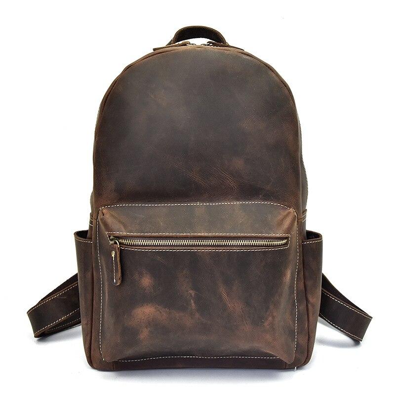 Prawdziwej skóry na co dzień duży plecak stałe torba szkolna dla mężczyzn w Plecaki od Bagaże i torby na  Grupa 2