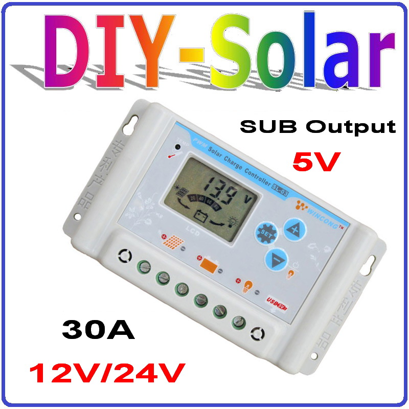 30A 12V/24V Auto sensing solar charge controller with 5V output USB and big LCD screen30A 12V/24V Auto sensing solar charge controller with 5V output USB and big LCD screen