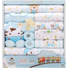 18Pcs/Lot 2019 Newborn Baby Girl Clothes Autumn Color World Gift Box Set Thick Cotton Character Boy