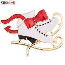 SHEEGIOR NEW Skating Shoes Brooch Pins Badge Jewelry Lovely Red Bow Sled Boots Brooches for Women Men Accessories Christmas Gift(China)