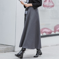Free Shipping New Fashion Long Thick A line Skirts For Women Elastic Waist Winter Woolen Skirts Warm With Pocket