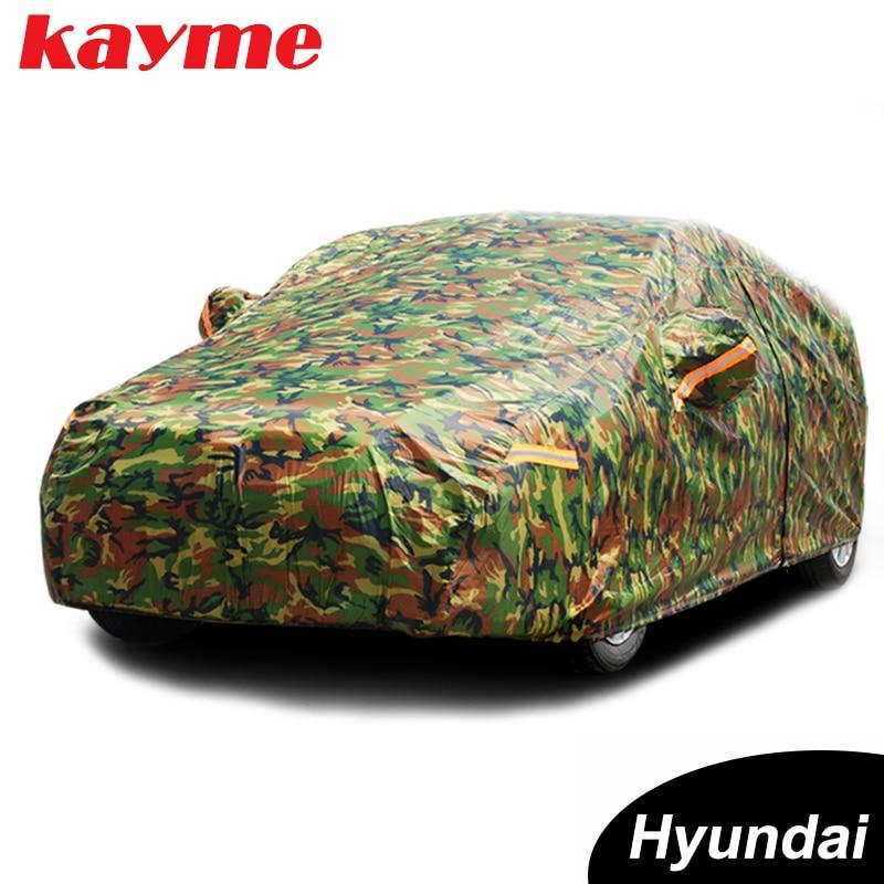 Kayme Waterproof Camouflage Car Covers Outdoor Sun Protection Cover For Hyundai Solaris Ix35 I30 Tucson Santa Fe Accent Creta