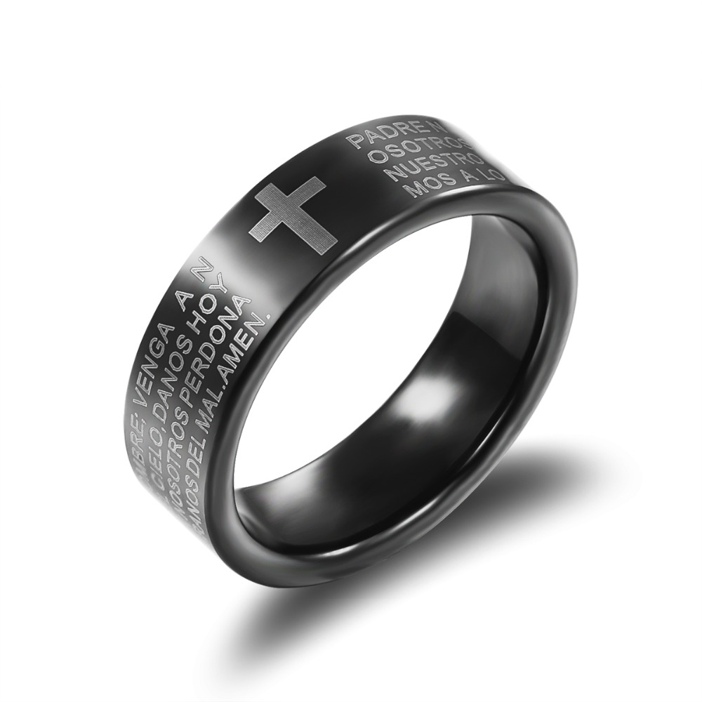 Personality Tungsten Cross Man Big Gothic Rings Classical Religious Holy Bible Men Party Jewelry 7MM Width